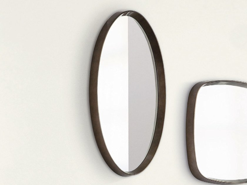 Oval mirror with wooden frame MIX | Oval mirror by Porada