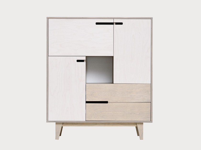 Plywood highboard with doors with drawers MIX by Radis