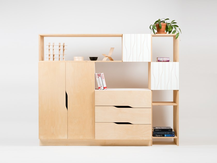 Plywood highboard with doors MIX by Radis