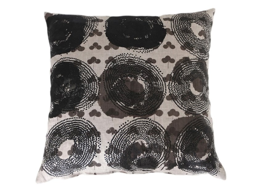 Square linen cushion MIXED BALL by Birgit Morgenstern Studios