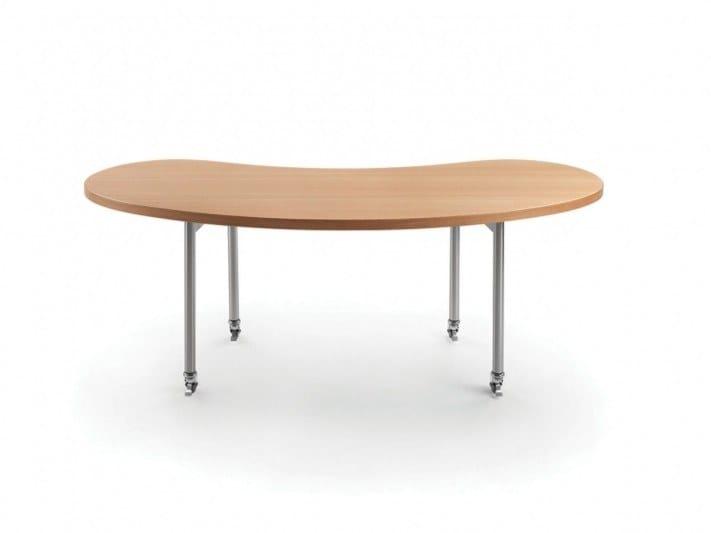 Tavolo con piano in legno e con rotelle mixer tavolo flexform