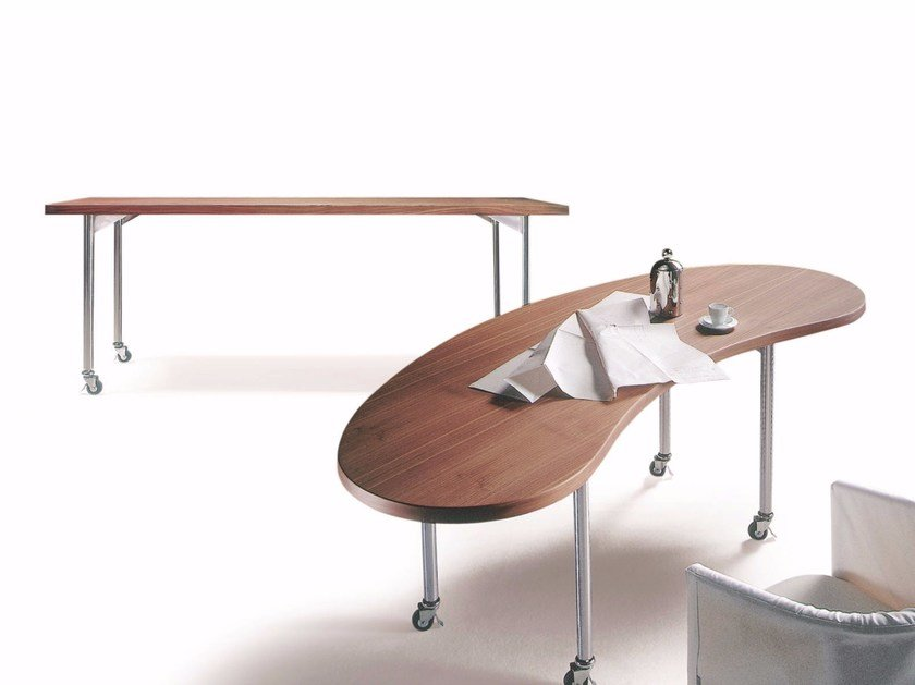 Wooden table with casters MIXER | Table by FLEXFORM