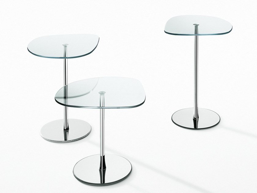 Crystal and steel coffee table MIXIT GLASS by Desalto