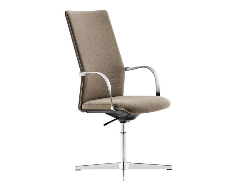 Höhenverstellbarer Bürostuhl aus Leder mit Armlehnen MN1 | Chefsessel by Howe