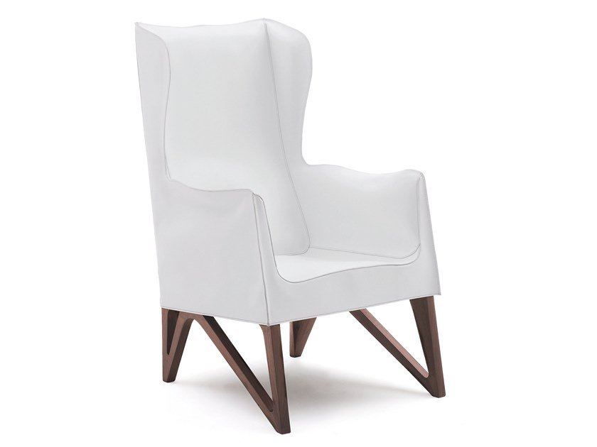 Wing leather armchair with armrests MOBIUS | Wing armchair by GIORGETTI
