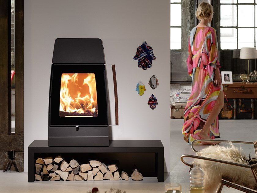 Wood-burning stove with bench MOBY by Austroflamm