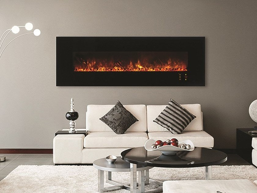 Electric wall-mounted fireplace with panoramic glass MODERN | Electric fireplace by BRITISH FIRES