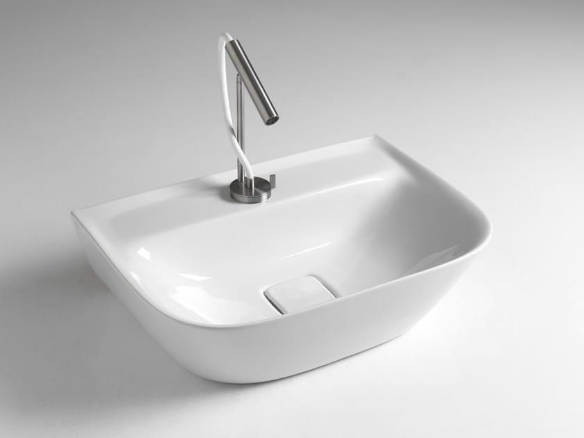 Rectangular single ceramic washbasin BACK SOUL 650 by BLEU PROVENCE
