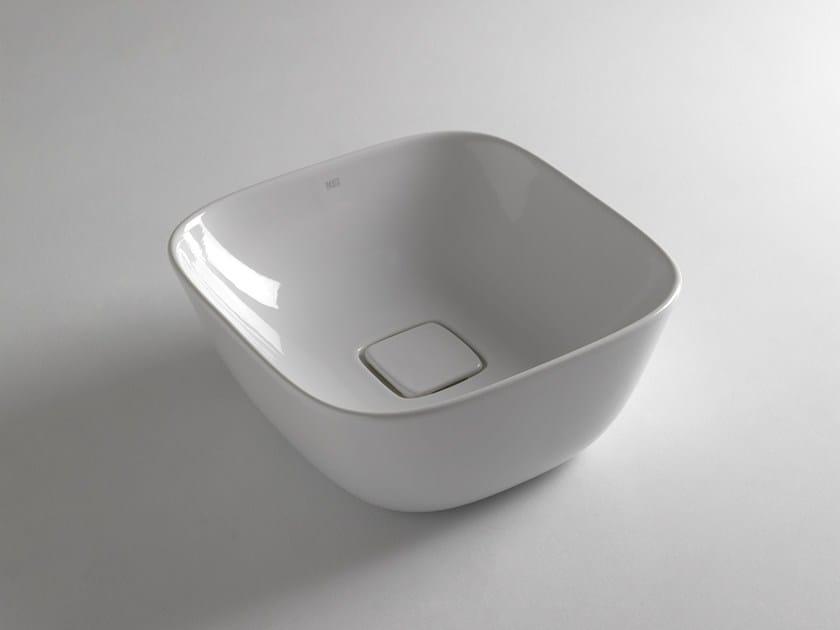 Countertop square ceramic washbasin SOUL 425 by BLEU PROVENCE
