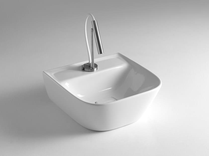 Square single ceramic washbasin BACK SOUL 425 by BLEU PROVENCE