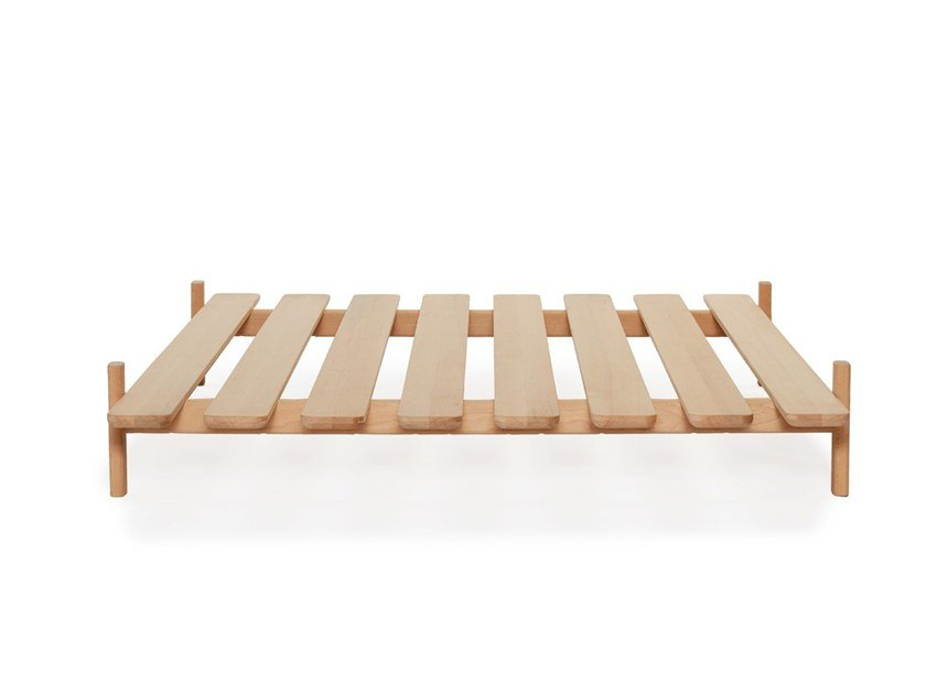 Beech double bed MODEST - TYPE 1 by Loof