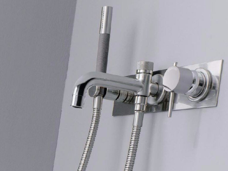 Wall-mounted bathtub mixer with hand shower MODO | Bathtub mixer with hand shower by ZAZZERI