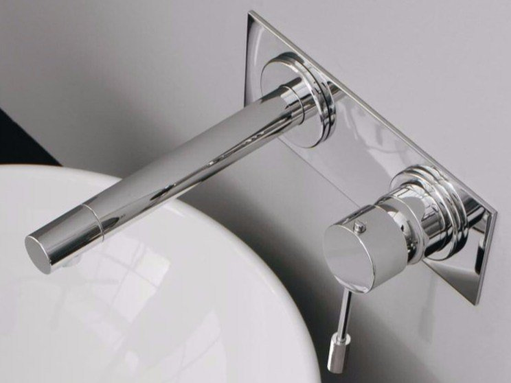 Wall-mounted washbasin mixer with plate MODO | Wall-mounted washbasin mixer by ZAZZERI
