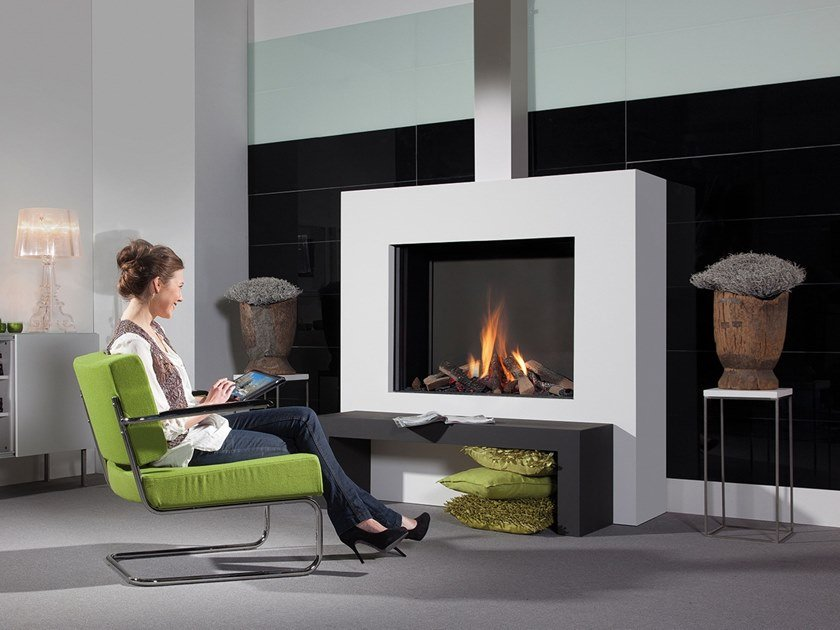 Gas wall-mounted steel fireplace with panoramic glass MODORE by RÜEGG