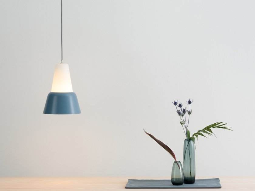 Glass and steel pendant lamp MODU L by TEO