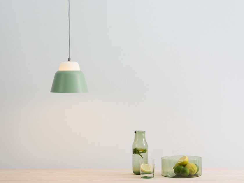 Glass and steel pendant lamp MODU S by TEO