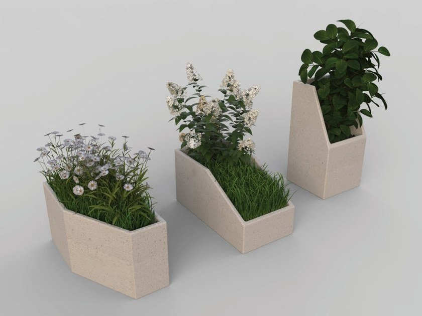 Reconstructed stone Flower pot MODULA | Flower pot by Manufatti Viscio