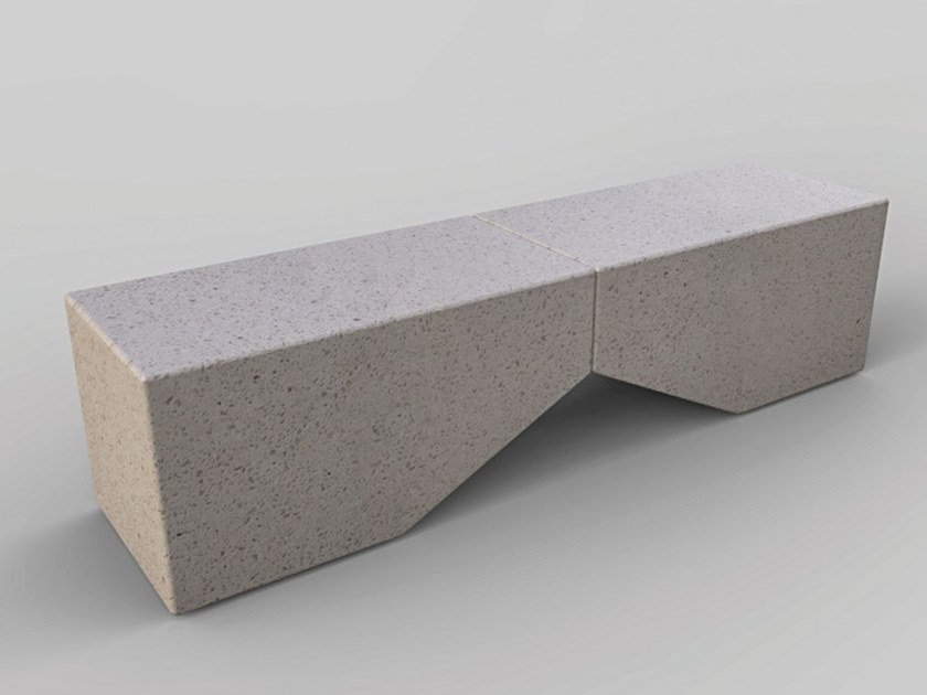 Sectional Modular reconstructed stone Bench with back MODULA | Sectional Bench by Manufatti Viscio