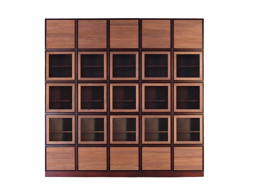 Sectional custom cherry wood bookcase with drawers MODULO ZERO | Cherry wood bookcase by Morelato