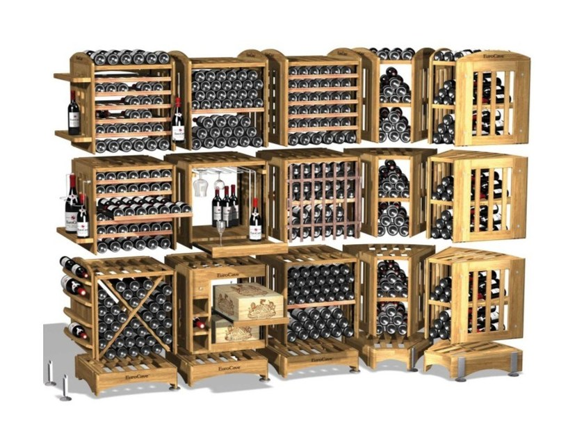 Vertical solid wood wine storage MODULOTHEQUE by EuroCave