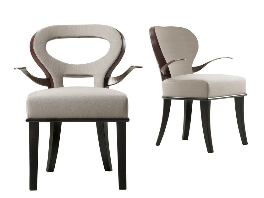 Upholstered fabric chair with armrests MOKA & ROKA by Promemoria