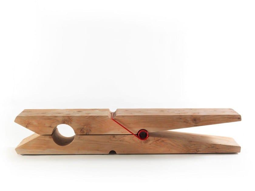 Cedar wood bench MOLLETTA By Riva 1920 design Baldessari e Baldessari