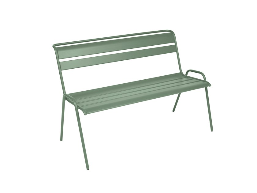 Steel Bench with back MONCEAU | Bench with back by FERMOB