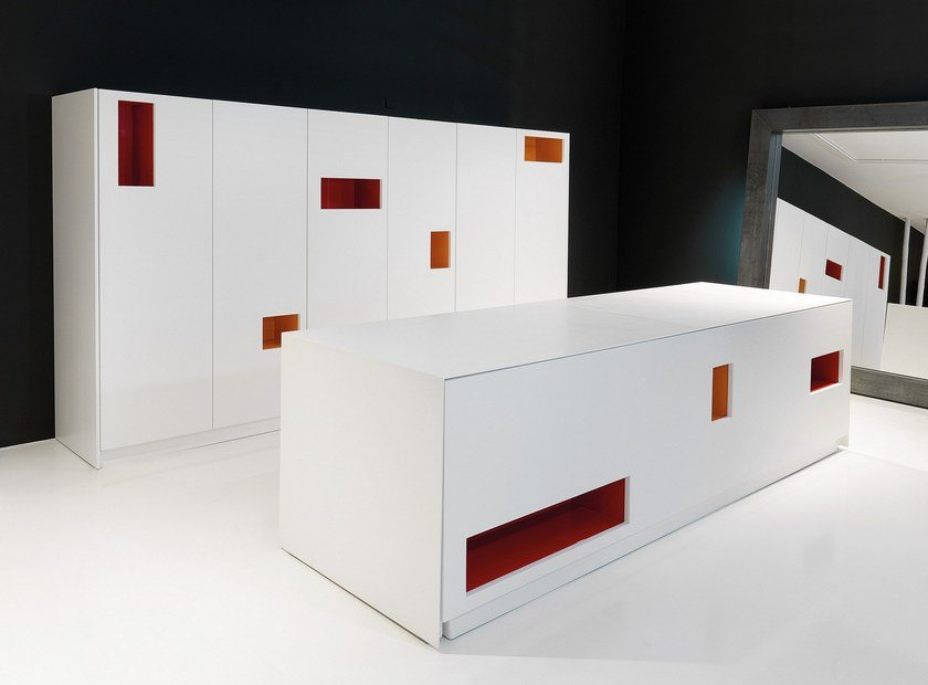 Corian® kitchen with island K14 By Boffi design Norbert Wangen