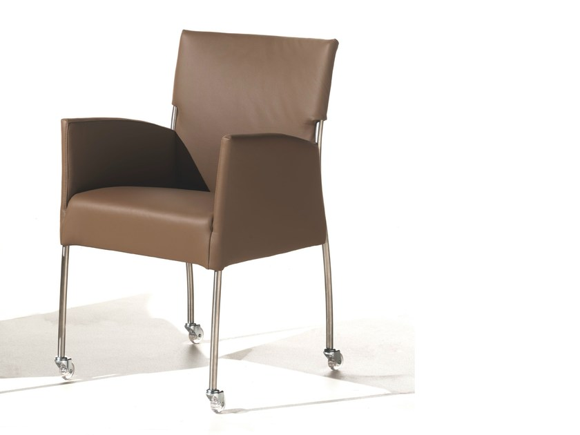 Upholstered chair with armrests with casters MONET | Chair with casters by Joli