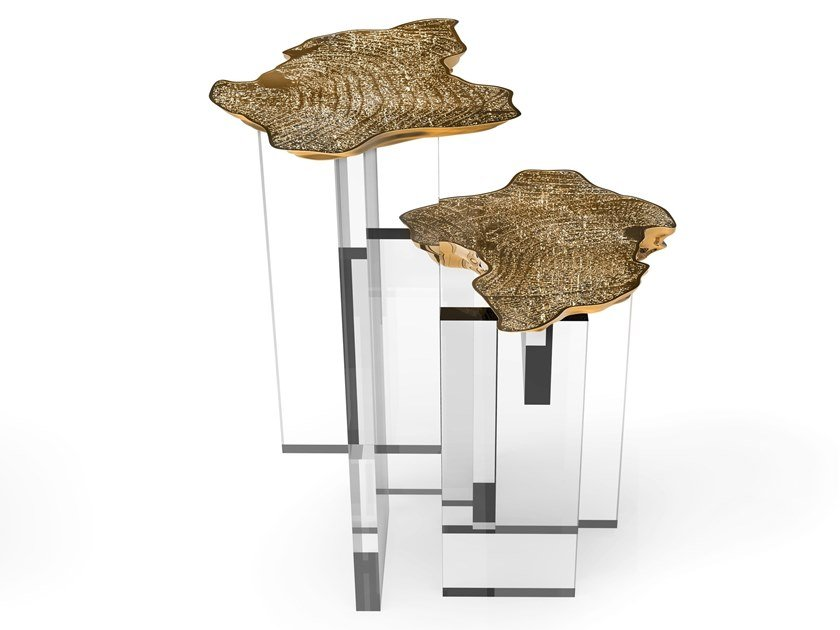 Brass high side table for living room MONET | High side table by Boca do Lobo