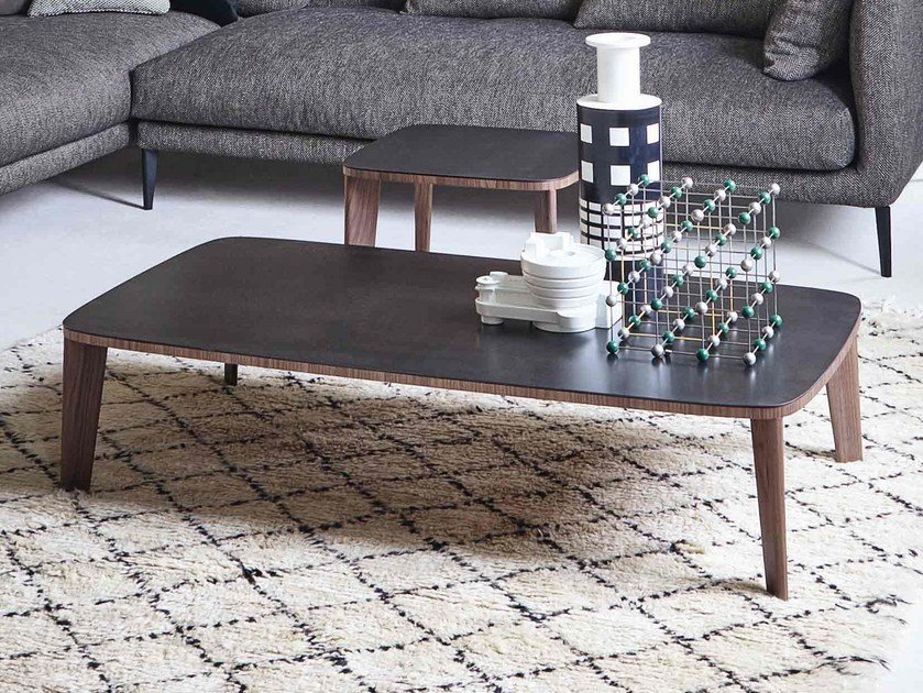 Low ceramic coffee table for living room MONFORTE by Bonaldo