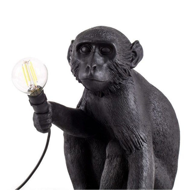 LED Resin Table Lamp MONKEY LAMP BLACK | Table Lamp By Seletti