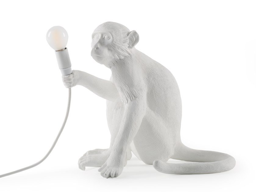 Lampada Da Tavolo A Led In Resina The Monkey Lamp Sitting Seletti