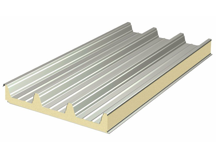 Insulated metal panel for roof MONO MEGA 106 by ITALPANNELLI
