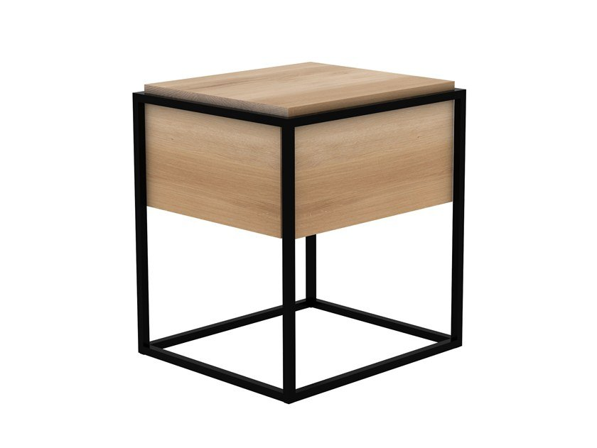 Rectangular oak bedside table with drawers MONOLIT | Bedside table by Ethnicraft