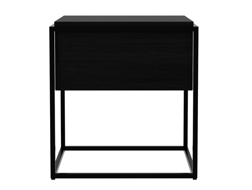Square steel and wood side table MONOLIT M | Side table by Ethnicraft