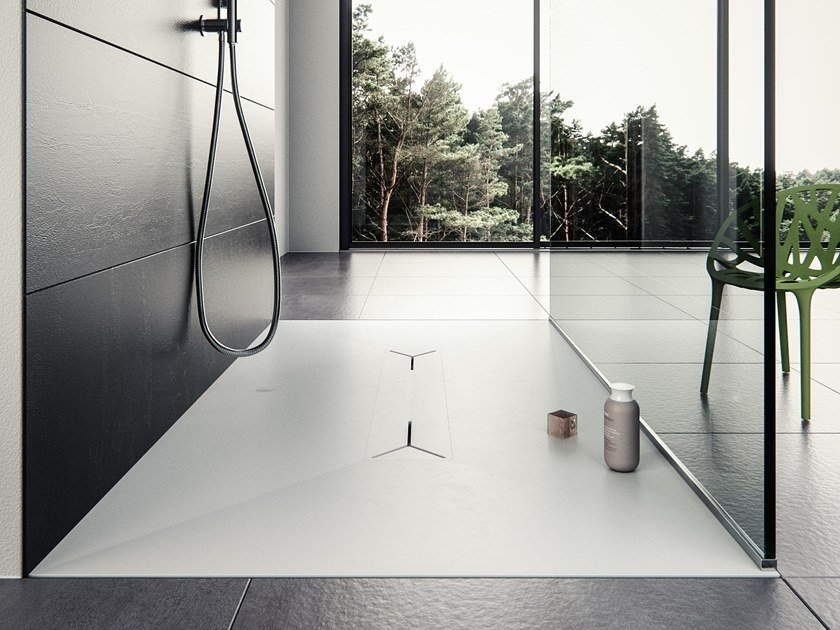 Rectangular Meridian Solid Surface® shower tray MONOLIT-SH01 by Le Projet