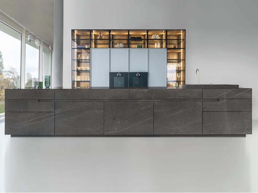 Marble kitchen with island MONOLITH by Zajc