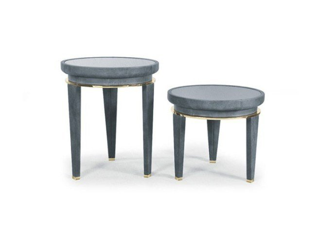 Round leather coffee table for living room MONTECARLO | Coffee table for living room by Marzorati