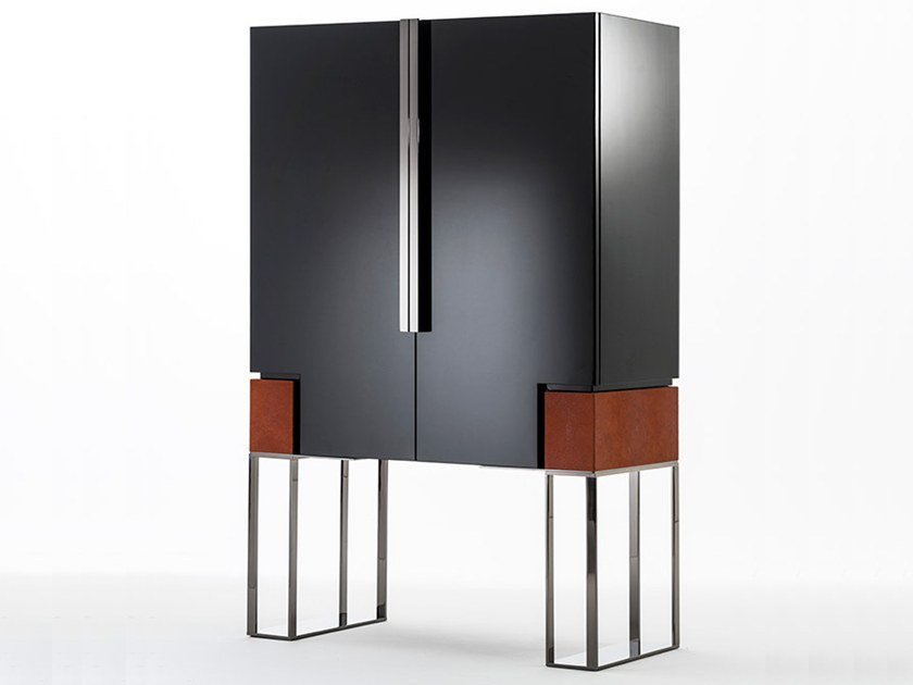 Lacquered bar cabinet with integrated lighting MONTENAPOLEONE | Lacquered bar cabinet by OAK