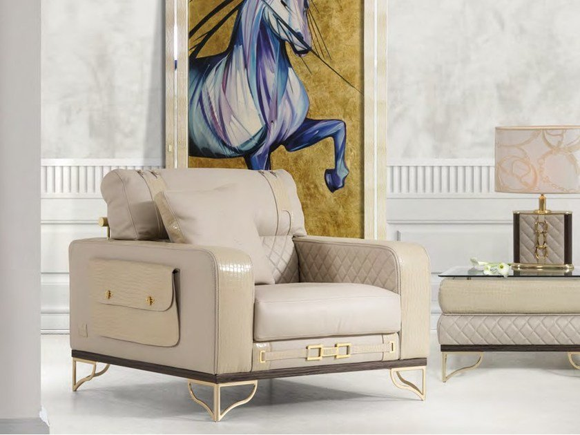 Upholstered leather armchair with armrests MONTGOMERY | Armchair by Formitalia