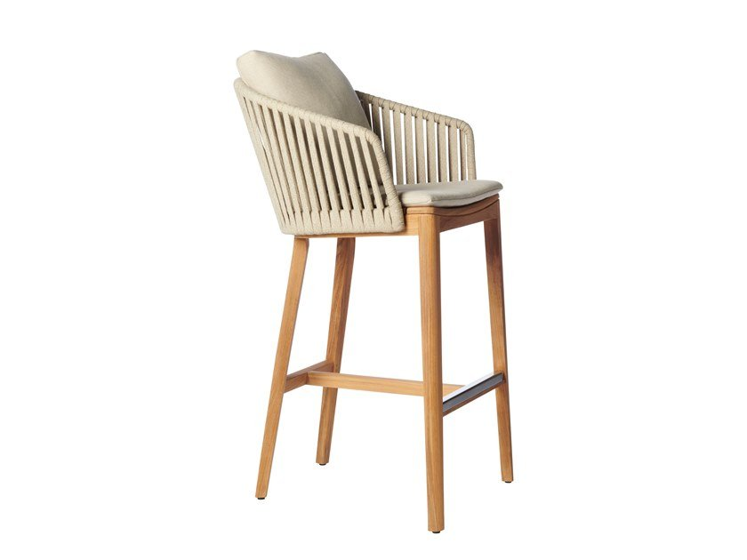 High teak stool with back MOOD | High stool by TRIBÙ