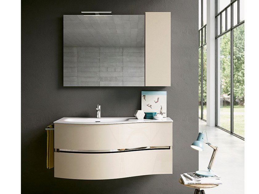 Wall-mounted vanity unit with mirror MOON 02 by BMT
