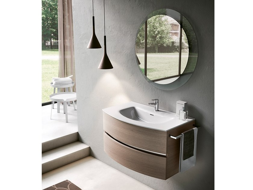 Wall-mounted vanity unit with mirror MOON 06 by BMT