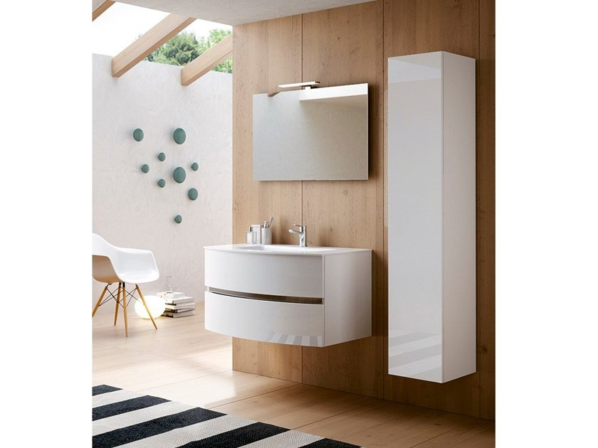 Wall-mounted vanity unit with cabinets MOON 07 by BMT