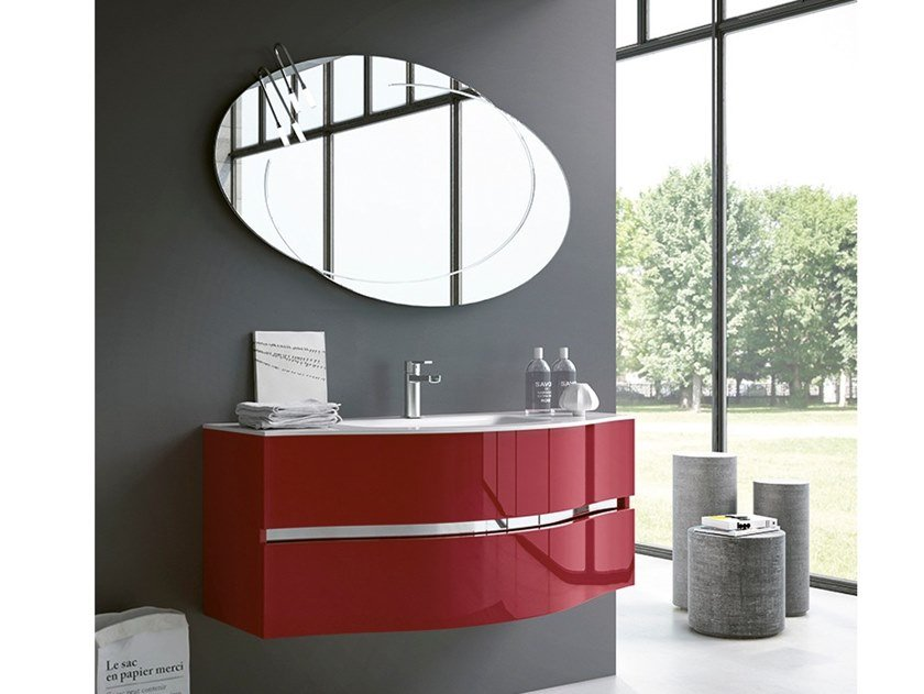 Wall-mounted vanity unit with mirror MOON 10 by BMT