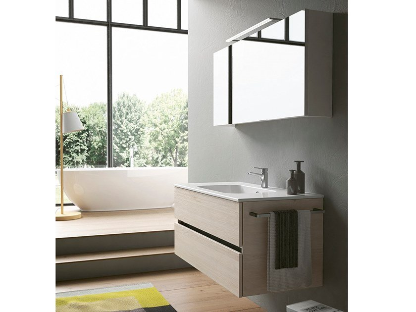 Wall-mounted vanity unit with mirror MOON 13 by BMT