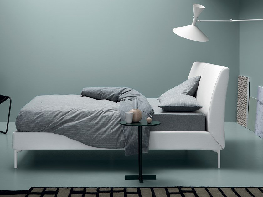 Fabric bed with upholstered headboard MOON by Md House