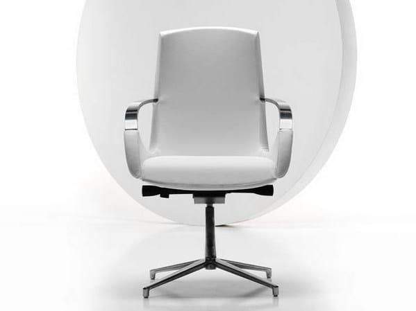 Medium back executive chair with armrests MOON   Executive chair with 4-spoke base by Diemme