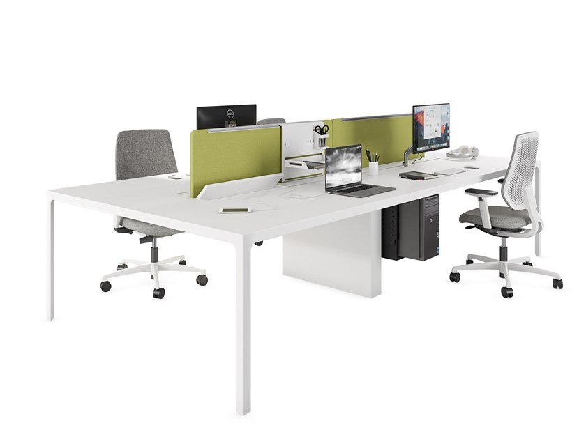 Multiple wooden office desk with sound absorbing screens MORE   Multiple office desk by ESTEL GROUP
